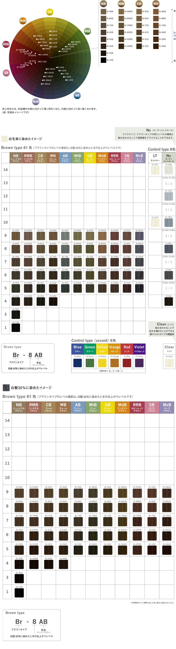 カラー チャート カラー ヘア